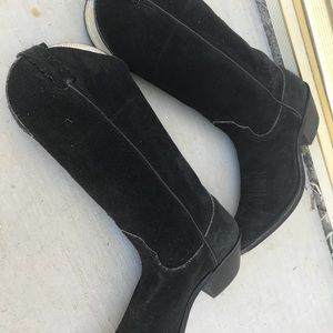 NOCONA Black suede Leather boots Leather bottoms